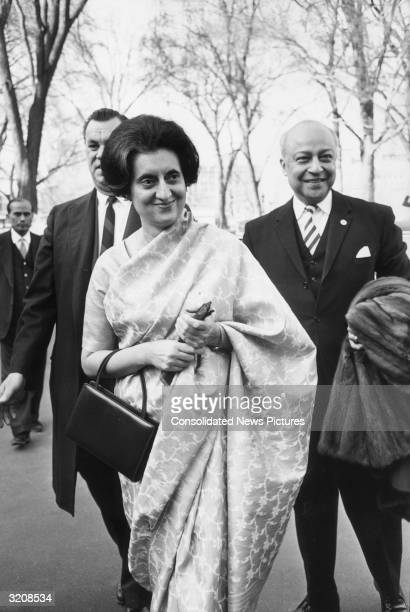Indian Prime Minister Indira Gandhi arrives at the White House for a meeting with President Lyndon Johnson Washington DC
