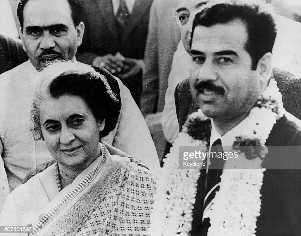 Indian Prime Minister Indira Gandhi greeting Iraqi vicePresident Saddam Hussein as he arrives in Delhi April 2nd 1974