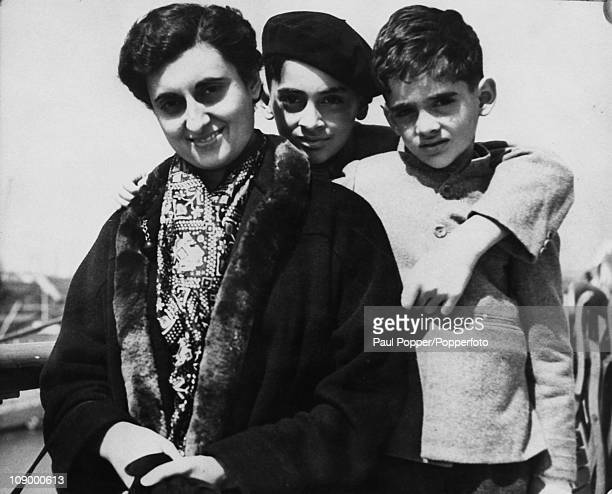 Indian Prime Minister Indira Gandhi with her sons Rajiv and Sanjay Southampton May 1953