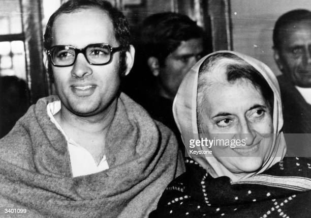 Indian prime minister Indira Gandhi with her younger son Sanjay just before his death in a plane crash in Delhi