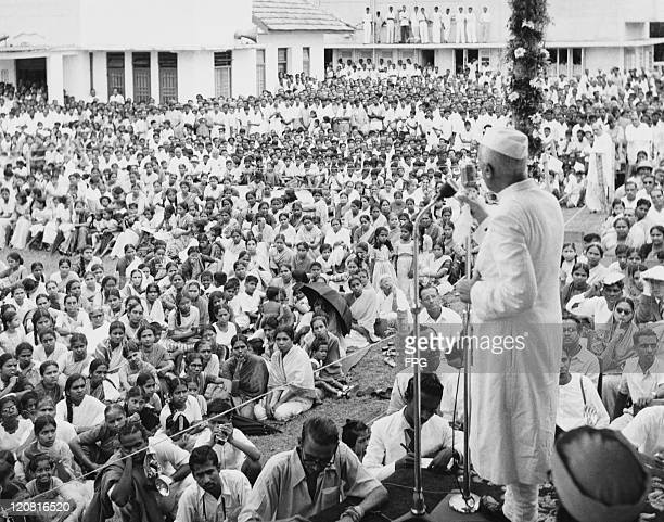 Indian Prime Minister Jawaharlal Nehru addressing a crowd during a visit to Colombo Ceylon 6th June 1957 Nehru is in the country to take part in...