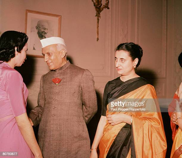 USA Indian Prime Minister Jawaharlal 'Pandit' Nehru is pictured with his daughter Indira Gandhi who became Prime Minister herself in 1966