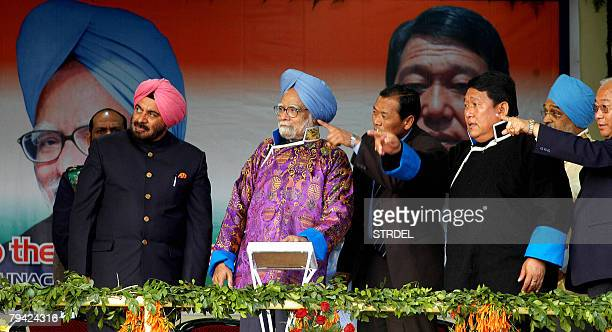 Indian Prime Minister Manmohan Singh looks on during the inauguration of the Indira Gandhi Park in Itanagar capital of the northeastern state of...
