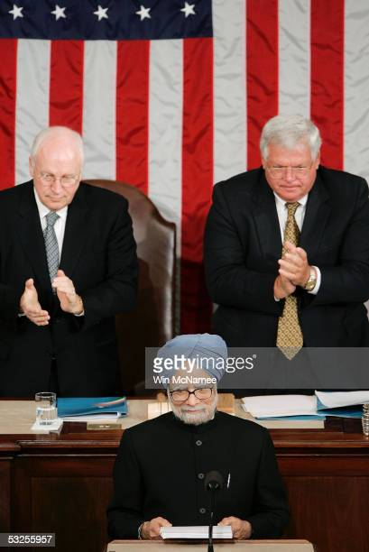 Indian Prime Minister Manmohan Singh receives applause from US Vice President Dick Cheney and Speaker of the House Dennis Hastert as Singh addresses...