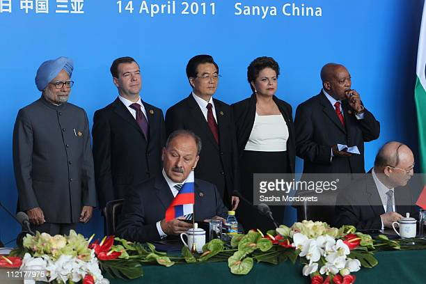Indian Prime Minister Manmohan Singh Russian President Dmitry Medvedev Chinese President Hu Jintao Brazilian President Dilma Rousseff South African...