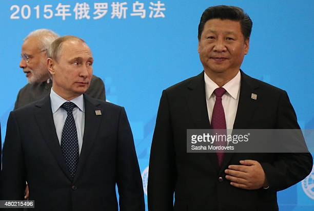 Indian Prime Minister Morendra Modi Russian President Vladimir Putin and Chinese President Xi Jinping seen during the Shanghai Cooperation...