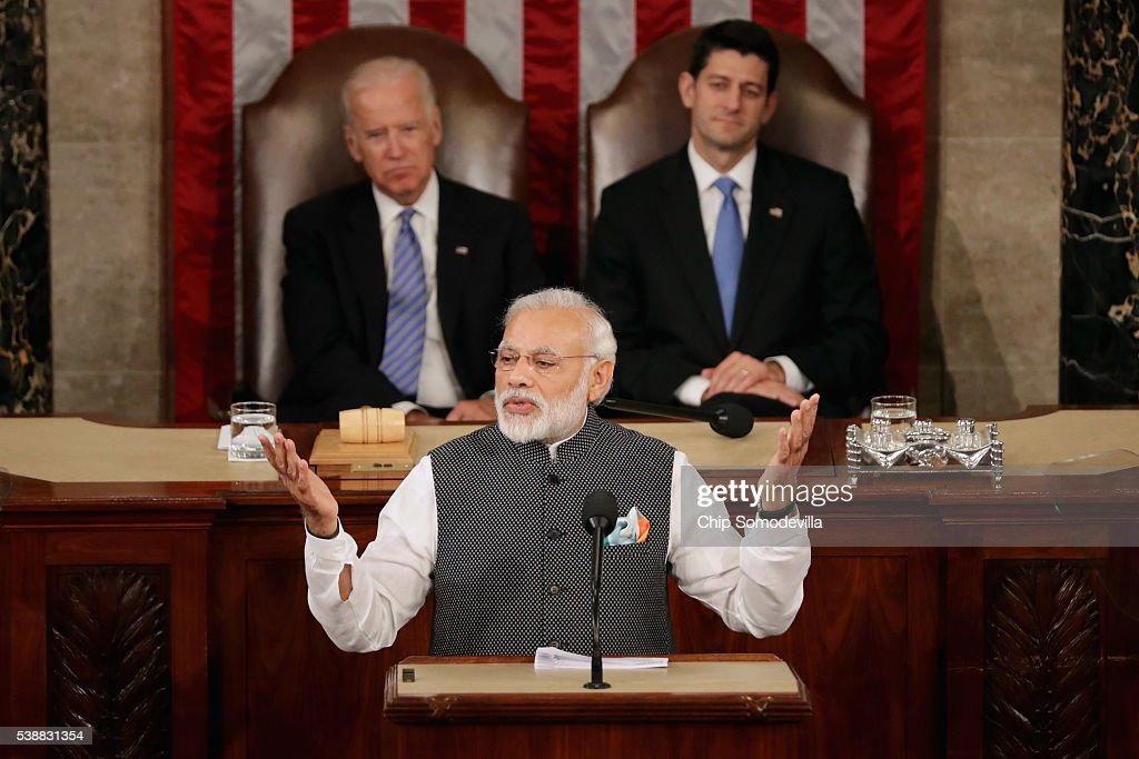 Indian Prime Minister <a gi-track='captionPersonalityLinkClicked' href=/galleries/search?phrase=Narendra+Modi&family=editorial&specificpeople=822611 ng-click='$event.stopPropagation()'>Narendra Modi</a> addresses a joint meeting of the U.S. Congress with Speaker of the House <a gi-track='captionPersonalityLinkClicked' href=/galleries/search?phrase=Paul+Ryan+-+Politician&family=editorial&specificpeople=7641535 ng-click='$event.stopPropagation()'>Paul Ryan</a> (R-WI) (C) and Vice President Joe Biden (2nd L) in the House Chamber of the U.S. Capitol June 8, 2016 in Washington, DC. Modi met with President Barack Obama for bilateral meetings on Tuesday.