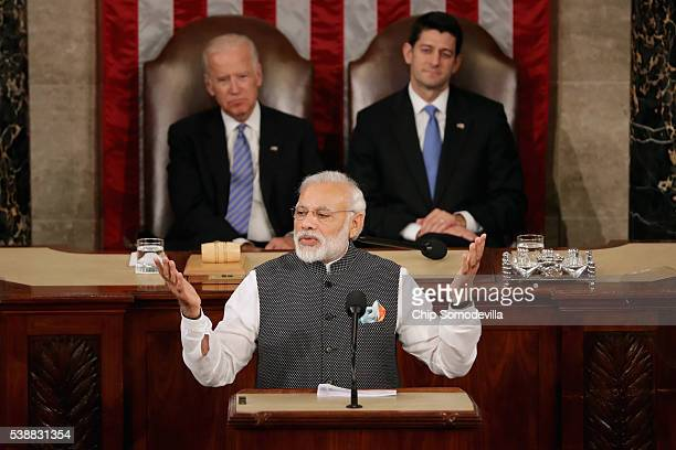 Indian Prime Minister Narendra Modi addresses a joint meeting of the US Congress with Speaker of the House Paul Ryan and Vice President Joe Biden in...