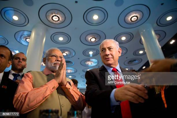 Indian Prime Minister Narendra Modi and Israeli Prime Minister Benjamin Netanyahu attend an innovation conference with Israeli and Indian CEOs in Tel...