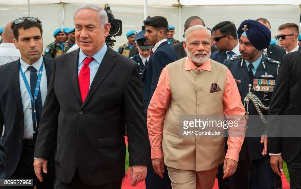 Indian Prime Minister Narendra Modi and Israeli Prime Minister Benjamin Netanyahu visit the Indian Army Cemetery of the World War I to honour fallen...
