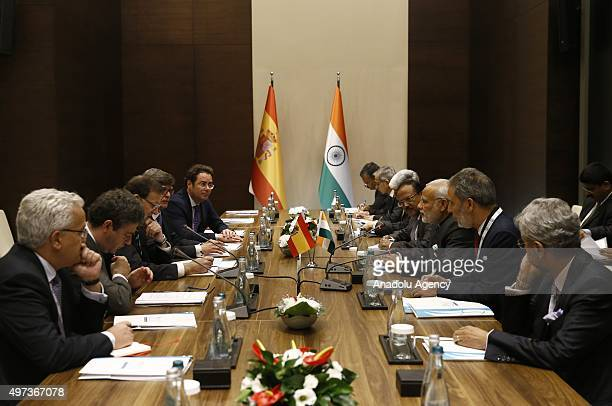 Indian Prime Minister Narendra Modi and Spanish Prime Minister Mariano Rajoy hold a bilateral meeting on day two of the G20 Turkey Leaders Summit on...