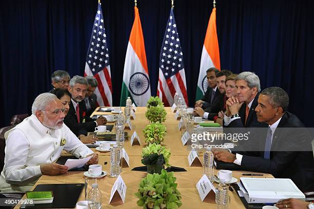 Indian Prime Minister Narendra Modi and US President Barack Obama deliver remarks to the news media after holding a bilateral meeting at the United...