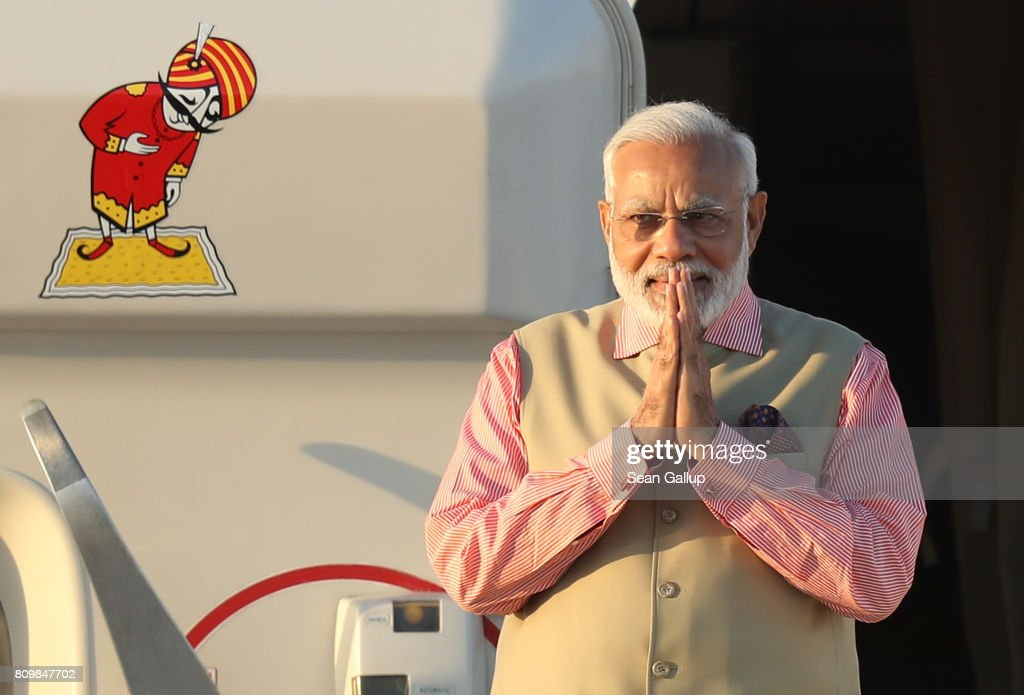 Indian Prime Minister Narendra Modi arrives at Hamburg Airport for the Hamburg G20 economic summit on July 6, 2017 in Hamburg, Germany. Leaders of the G20 group of nations are meeting for the July 7-8 summit. Topics high on the agenda for the summit include climate policy and development programs for African economies.