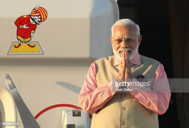 Indian Prime Minister Narendra Modi arrives at Hamburg Airport for the Hamburg G20 economic summit on July 6 2017 in Hamburg Germany Leaders of the...