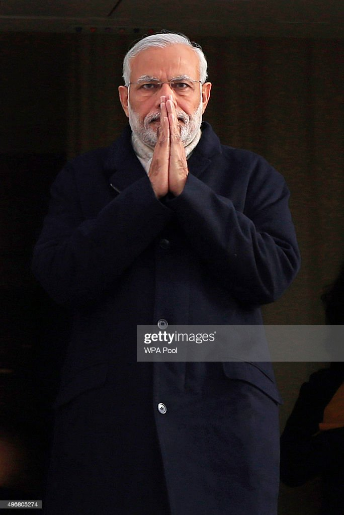 Indian Prime Minister <a gi-track='captionPersonalityLinkClicked' href=/galleries/search?phrase=Narendra+Modi&family=editorial&specificpeople=822611 ng-click='$event.stopPropagation()'>Narendra Modi</a> arrives at Heathrow Airport for an official three day visit on November 12, 2015 in London, England. In his first trip to Britain as Prime Minister Modi's visit will aim to develop economic ties between the two countries. In a busy schedule he is due to speak at Wembley Stadium, have lunch with the Queen at Buckingham Palace, address Parliament and stay overnight at Chequers.