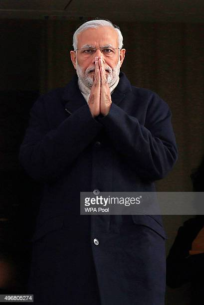 Indian Prime Minister Narendra Modi arrives at Heathrow Airport for an official three day visit on November 12 2015 in London England In his first...