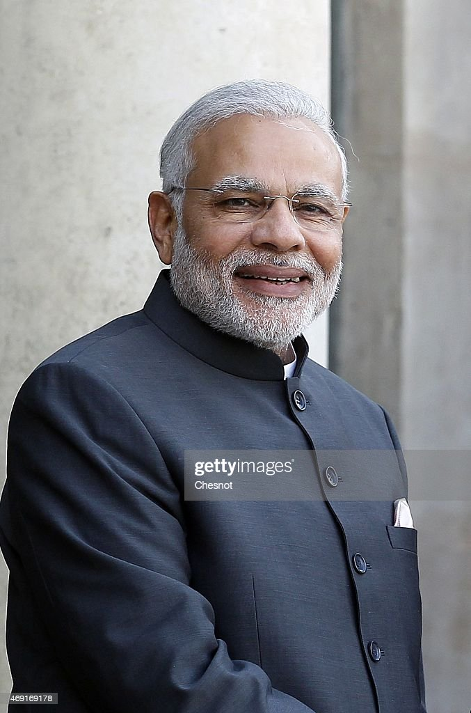 Indian Prime Minister Narendra Modi arrives at the Elysee Palace prior a meeting with French President Francois Hollande on April 10, 2015 in Paris, France. This is the first time Narendra Modi visits France since his election in May 2014.