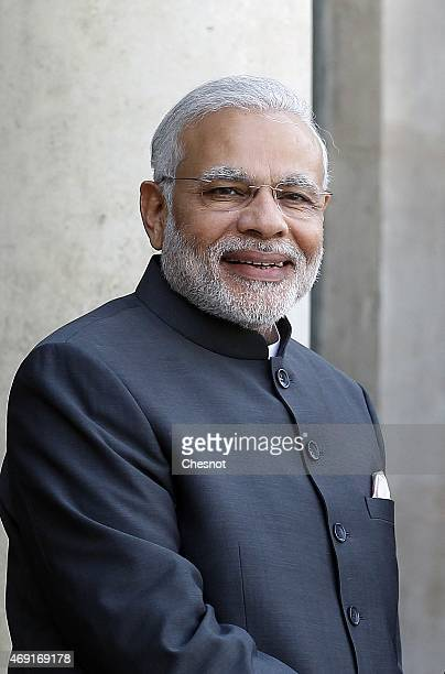 Indian Prime Minister Narendra Modi arrives at the Elysee Palace prior a meeting with French President Francois Hollande on April 10 2015 in Paris...