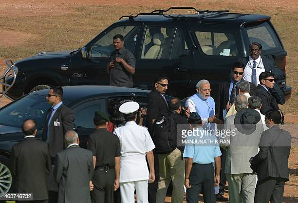 Indian Prime Minister Narendra Modi arrives at Yelahanka Airforce Station in Bangalore on February 18 on the inaugural day of Aero India 2015 Prime...
