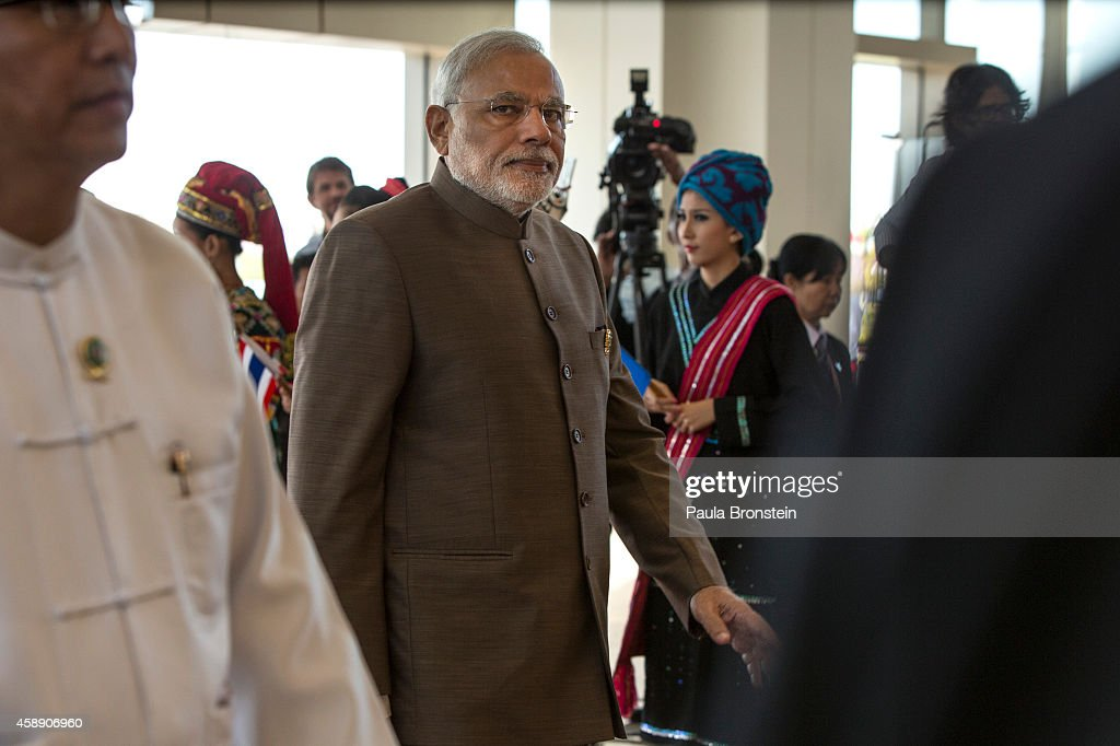 Indian Prime Minister Narendra Modi arrives on the second day of the ASEAN summit on November 13 2014 in Naypyidaw Burma The Burmese capitol of...