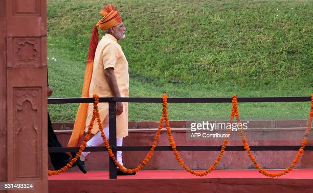 Indian Prime Minister Narendra Modi arrives to deliver his speech for the country's 71st Independence Day celebrations which marks the 70th...