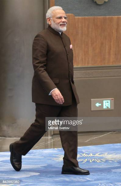 Indian Prime Minister Narendra Modi arrives to the dinner on September 4 2017 in Xiamen China Leaders of Russia China India Brazil and South Africa...