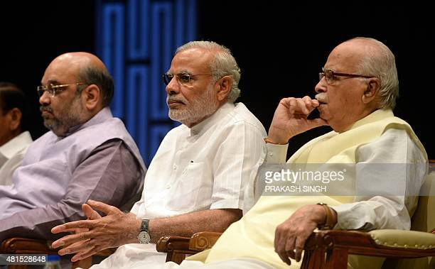 Indian Prime Minister Narendra Modi Bharatiya Janata Party President Amit Shah and Senior BJP Leader L K Advani attend the BJP parliamentary...