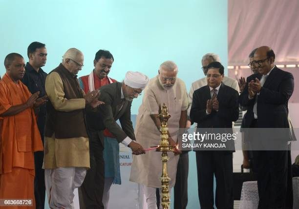 Indian Prime Minister Narendra Modi Chief Justice of India JS Khehar Dilip Babasaheb Bhosale the Chief Justice of the Allahabad High Court and Uttar...