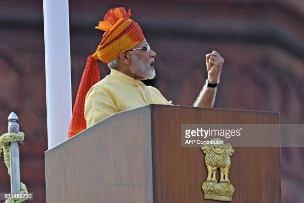 TOPSHOT Indian Prime Minister Narendra Modi delivers his address during the country's 71st Independence Day celebrations which marks the 70th...