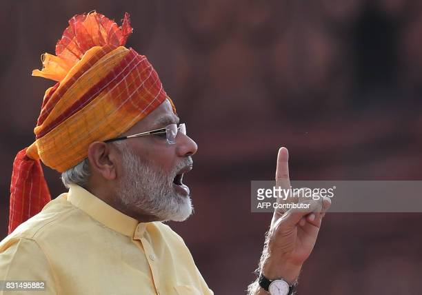 Indian Prime Minister Narendra Modi delivers his address during the country's 71st Independence Day celebrations which marks the 70th anniversary of...