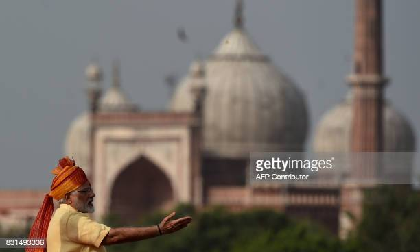 Indian Prime Minister Narendra Modi delivers his speech for the country's 71st Independence Day celebrations which marks the 70th anniversary of the...