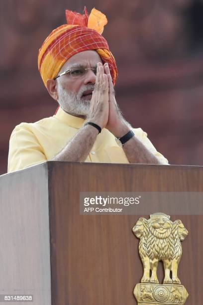 Indian Prime Minister Narendra Modi gestures during his address during the country's 71st Independence Day celebrations which marks the 70th...
