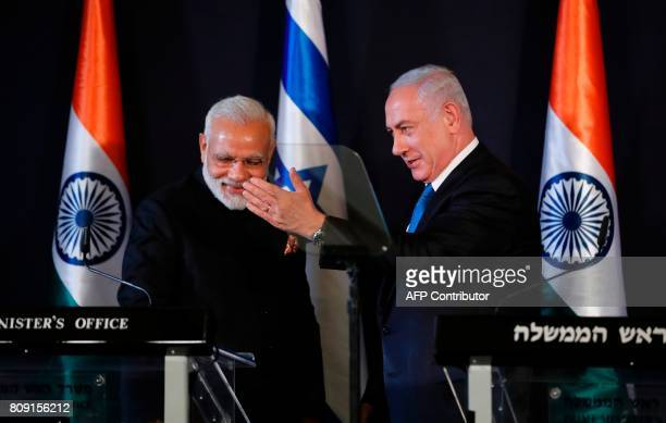 Indian Prime Minister Narendra Modi gives a press conference with his Israeli counterpart Benjamin Netanyahu in Jerusalem on July 5 2017 Prime...