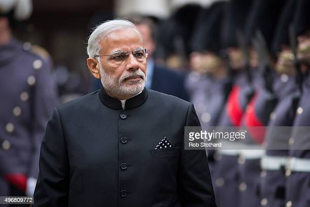 Indian Prime Minister Narendra Modi inspects a Guard of Honour on November 12 2015 in London England Modi began a threeday visit to the United...