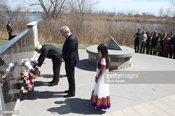 TORONTO ON APRIL 16 Indian Prime Minister Narendra Modi lays a wreath as he visits the Air India Flight 182 monument at Humber Bay East Park with...