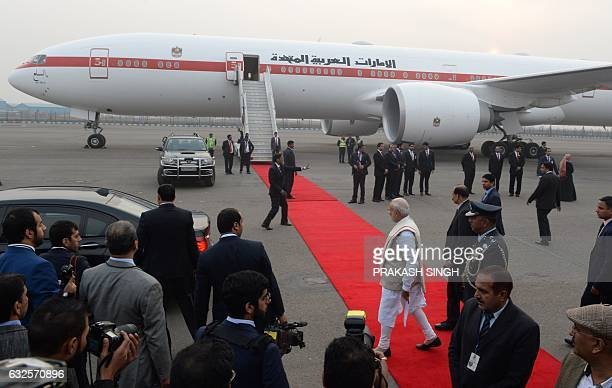 Indian Prime Minister Narendra Modi leaves after the arrival of the Crown Prince of Abu Dhabi and Deputy Supreme Commander of United Arab Emirates...