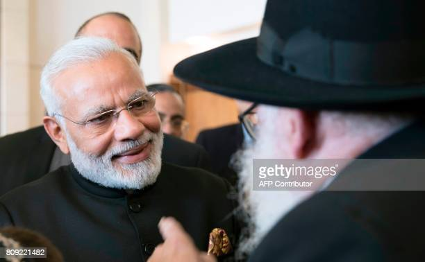 Indian Prime Minister Narendra Modi meets with Moshe Holtzberg son of slain US Rabbi Gavriel Holtzberg who was killed with his wife in the November...