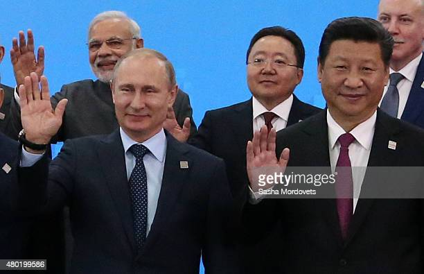 Indian Prime Minister Narendra Modi Russian President Vladimir Putin Mongol President Tsakhiajin Elbegdorj Chinese President Xi Jinping pose for a...