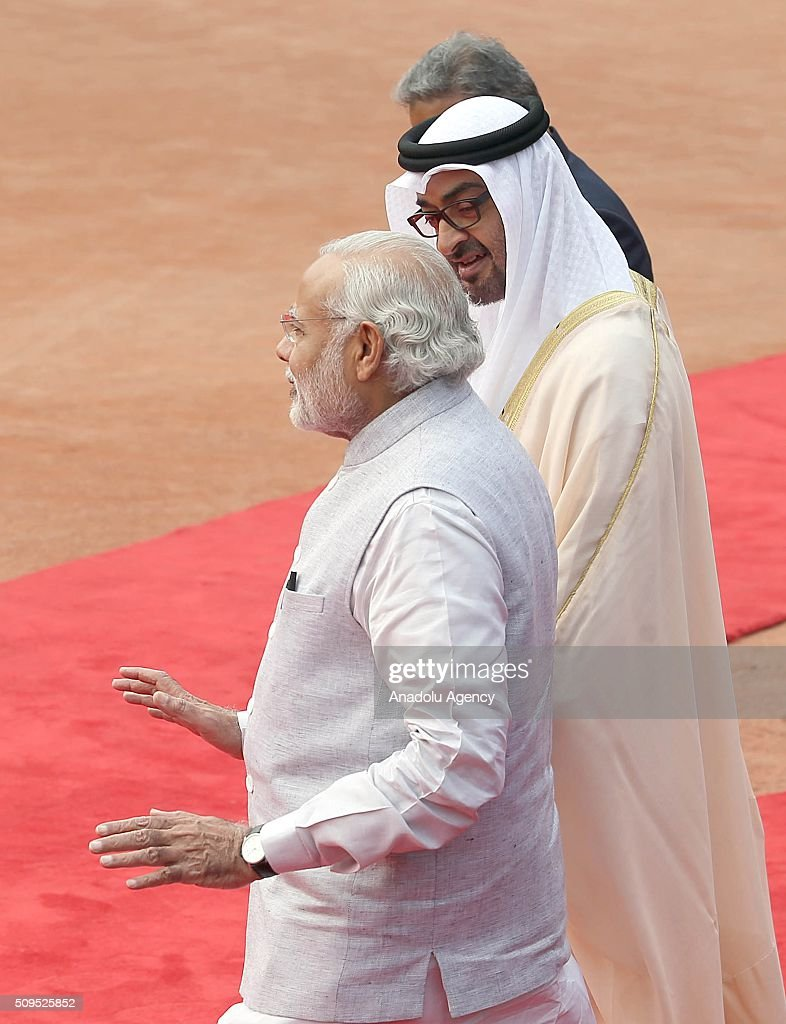 Indian Prime Minister Narendra Modi (L), shakes hand with Abu Dhabi's Crown Prince Sheikh Mohammed bin Zayed Al Nahyan (R) on his arrival at the Indian presidential palace for A ceremonial reception, in New Delhi, India on February 11, 2016. Nahyan is on a three-day visit to India.