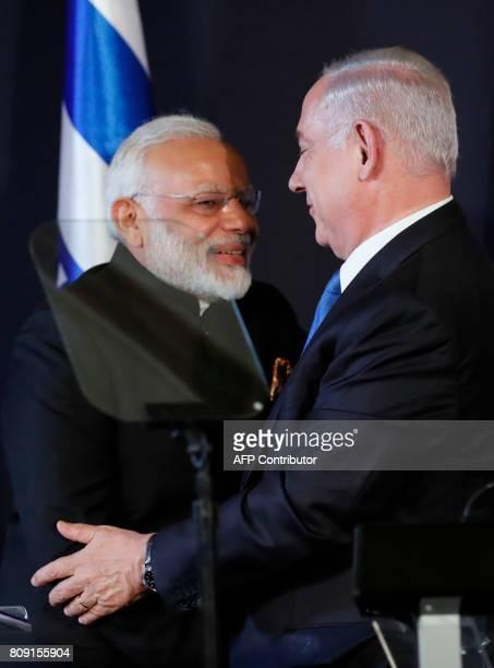Indian Prime Minister Narendra Modi shakes hands with his Israeli counterpart Benjamin Netanyahu in Jerusalem on July 5 2017 Prime Minister Narendra...