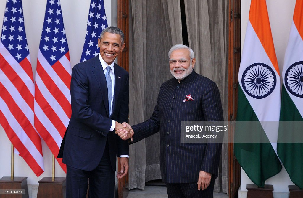 Indian Prime Minister <a gi-track='captionPersonalityLinkClicked' href=/galleries/search?phrase=Narendra+Modi&family=editorial&specificpeople=822611 ng-click='$event.stopPropagation()'>Narendra Modi</a> (R) shakes hands with US President <a gi-track='captionPersonalityLinkClicked' href=/galleries/search?phrase=Barack+Obama&family=editorial&specificpeople=203260 ng-click='$event.stopPropagation()'>Barack Obama</a> prior to a meeting in New Delhi on January 25, 2015. US President <a gi-track='captionPersonalityLinkClicked' href=/galleries/search?phrase=Barack+Obama&family=editorial&specificpeople=203260 ng-click='$event.stopPropagation()'>Barack Obama</a> held talks January 25 with Prime Minister <a gi-track='captionPersonalityLinkClicked' href=/galleries/search?phrase=Narendra+Modi&family=editorial&specificpeople=822611 ng-click='$event.stopPropagation()'>Narendra Modi</a> at the start of a three-day India visit aimed at consolidating increasingly close ties between the world's two largest democracies.