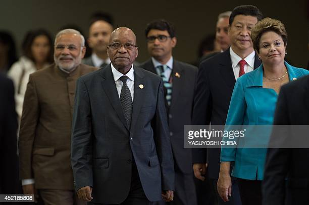 Indian Prime Minister Narendra Modi South African President Jacob Zuma Chinese President Xi Jinping and Brazilian President Dilma Rousseff are seen...