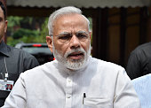 Indian Prime Minister Narendra Modi talks to the media after his arrival at the opening day of the Monsoon Session of the Parliament on July 18 2016...
