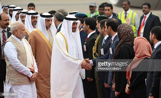Indian Prime Minister Narendra Modi watches as The Crown Prince of Abu Dhabi and Deputy Supreme Commander of United Arab Emirates Armed Forces...