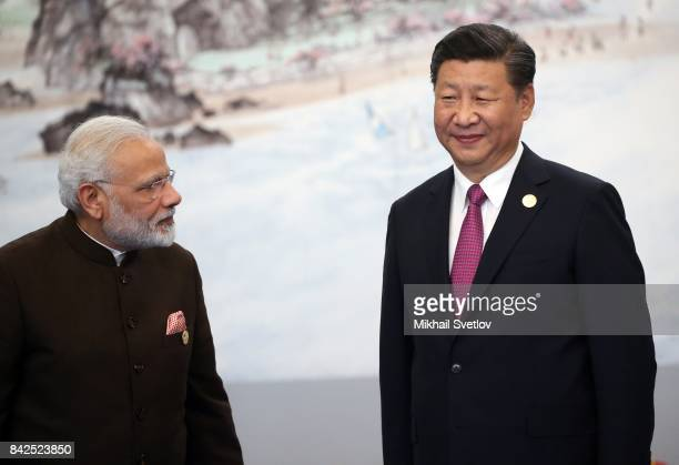 Indian Prime Minister Narendra Modi with Chinese President Xi Jinping prior to the dinner on September 4 2017 in Xiamen China Leaders of Russia China...