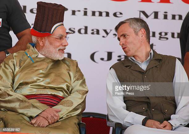 Indian Prime Minister Narindra Modi and JK Chief Minister Omar Abdullah lay the ceremonial foundation for the 220 KV Transmission Line and inaugurate...