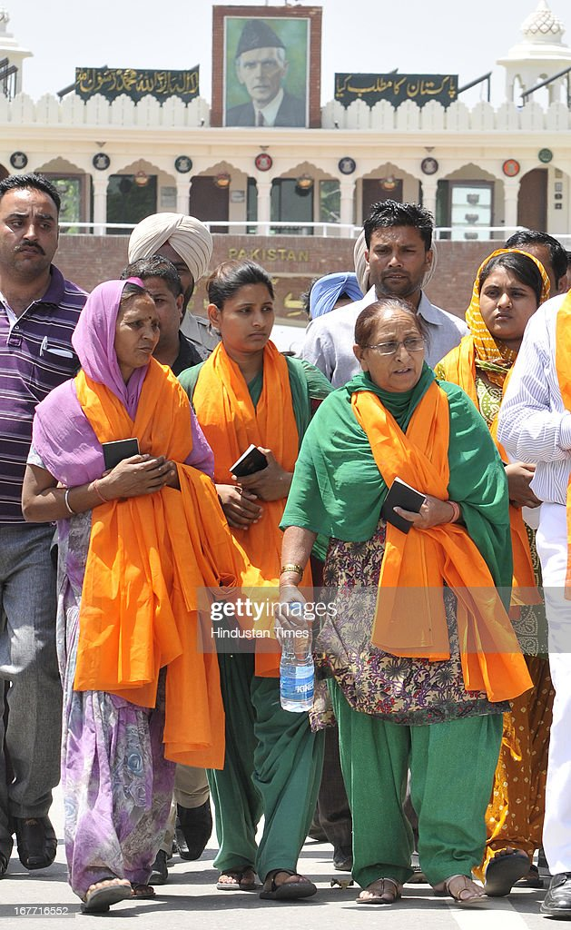 Indian prisoner in Pakistan Sarabjit Singh's sister Dalbir Kaur along with wife Sukhpreet and daughters Swapandeep Kaur and Poonam coming to talk to Indian media before crossing over to Pakistan at India-Pakistan Attari border on April 28, 2013 near Amritsar, India. Pakistani doctors treating a comatose Sarabjit Singh here today said there has been no improvement in his condition and chances of survival are slim even as his distraught family visited him and demanded that he be sent to India for better treatment. Sarabjit was admitted to the state-run Jinnah Hospital with a severe head injury after being attacked by prisoners. Sarabjit was convicted for alleged involvement in a string of bomb attacks in Punjab province that killed 14 people in 1990.