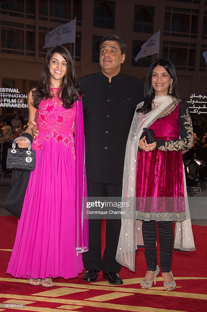 Indian Producer Ronnie Screwvala (C) and guest arrive for the tribute to Hindi cinema at the 12th Marrakech International Film Festival Marrakech International 12th Film Festival on December 1, 2012 in Marrakech, Morocco.