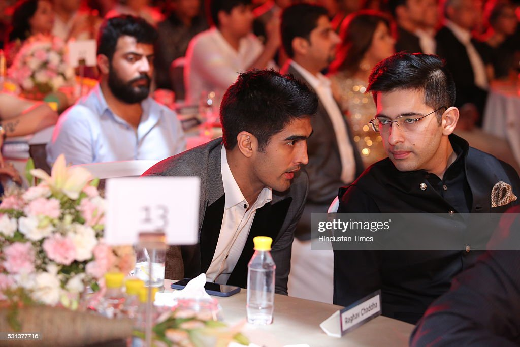 Indian Professional Boxer Vijendra Singh with AAP leader Raghav Chadha during a sixth edition of Hindustan Times Most Stylish Awards 2016 at Hotel JW Marriot, Aerocity on May 24, 2016 in New Delhi, India.