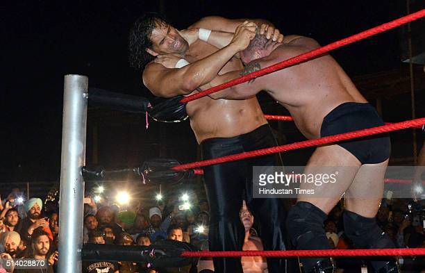 Indian professional wrestler Dilip Singh Rana popularly known as Great Khali fighting with foreign wrestler Brody Steele during the Pro Wrestling...
